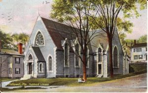 Early postcard of Hubbard Free Library.