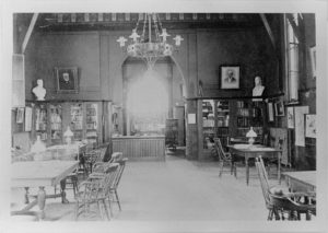 About Hubbard Free Library - photo of the reading room circa 1880.